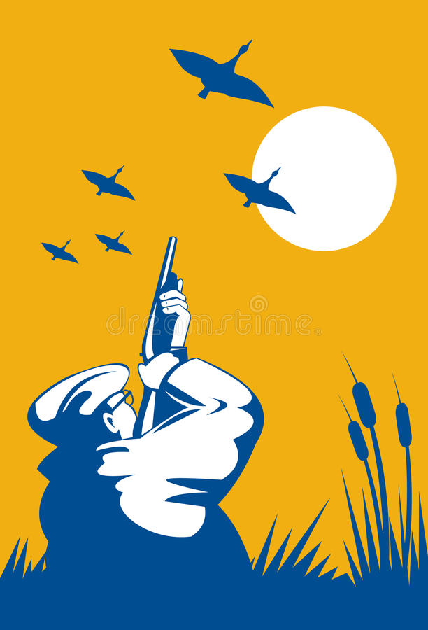Duck hunter aiming shotgun stock illustration