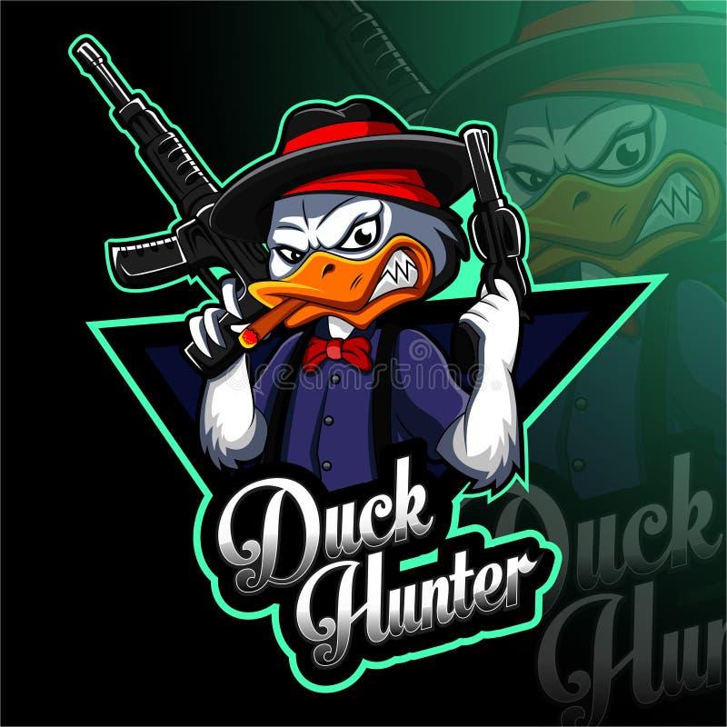 Duck hunter esport mascot logo design. Vector illustration of Duck hunter esport mascot logo design stock illustration