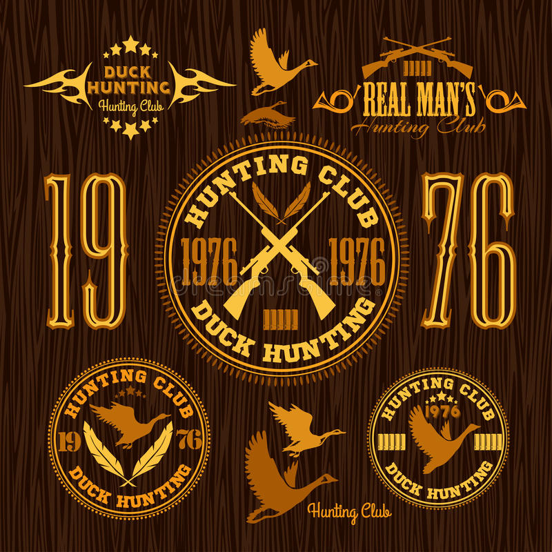 Duck Hunting - vecteur réglé pour chasser l'emblème illustration stock
