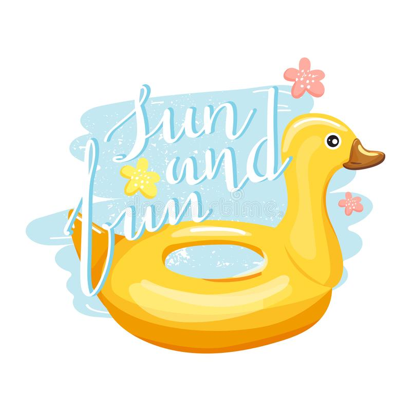 Duck inflatable swimming pool ring with trendy lettering. vector illustration