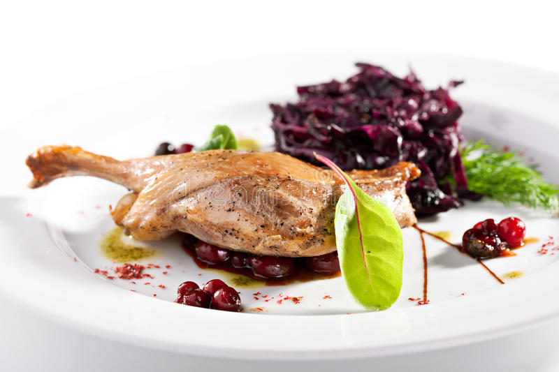 Duck Leg with Salad stock photography