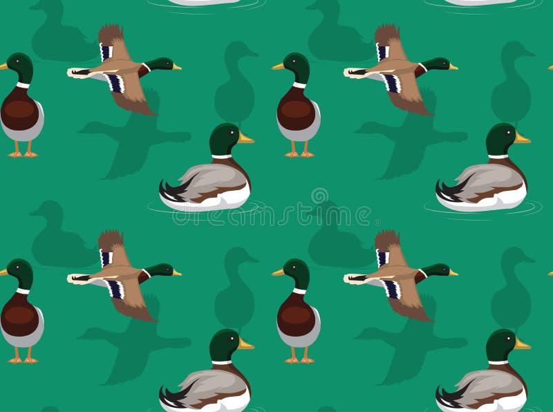 Duck Mallard Flying Pose Background sömlös tapet vektor illustrationer