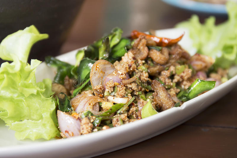 Duck mince Larb with spicy taste. Thai food stock image