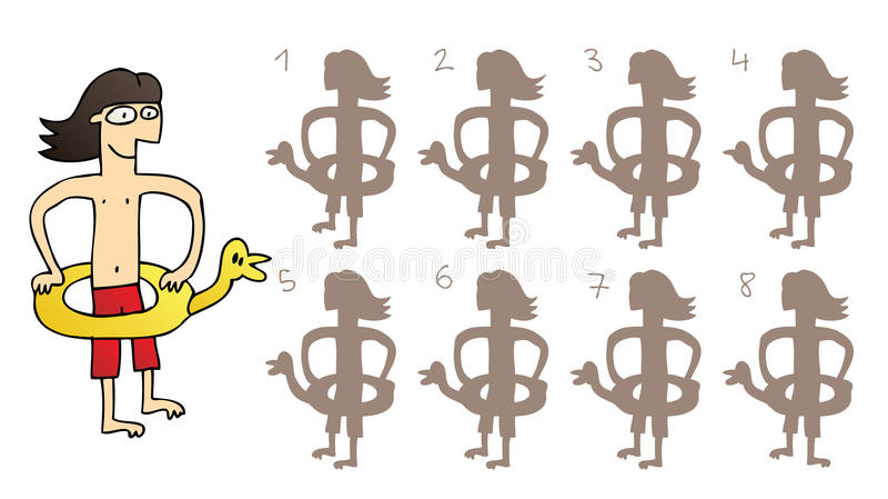 Duck Mirror Shadows Visual Game en caoutchouc illustration stock