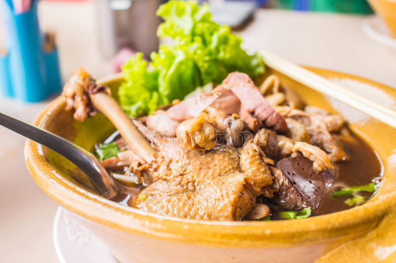 Duck noodle soup. On the table stock images