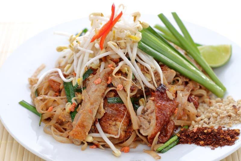 Duck pad thai. Traditional duck pad thai closeup, thai food royalty free stock photos