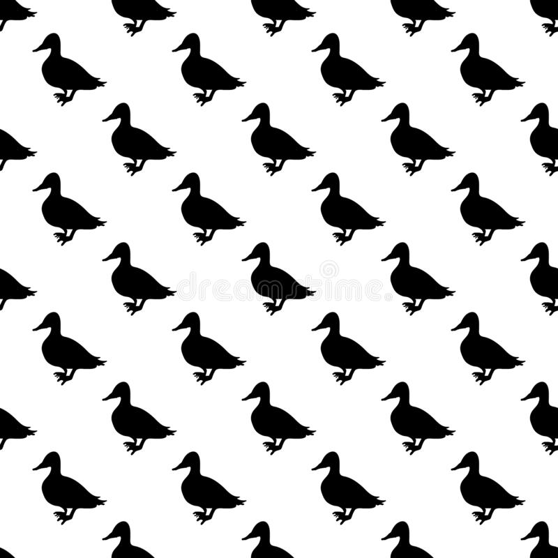 Duck pattern seamless. Black for any design royalty free illustration