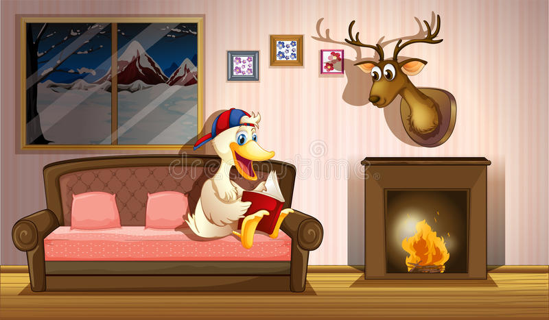 A duck reading a book beside a fireplace stock illustration