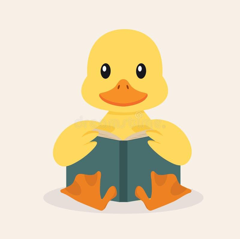 Duck Reading een Boekvector vector illustratie