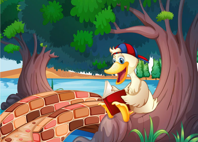A duck reading near the bridge stock illustration