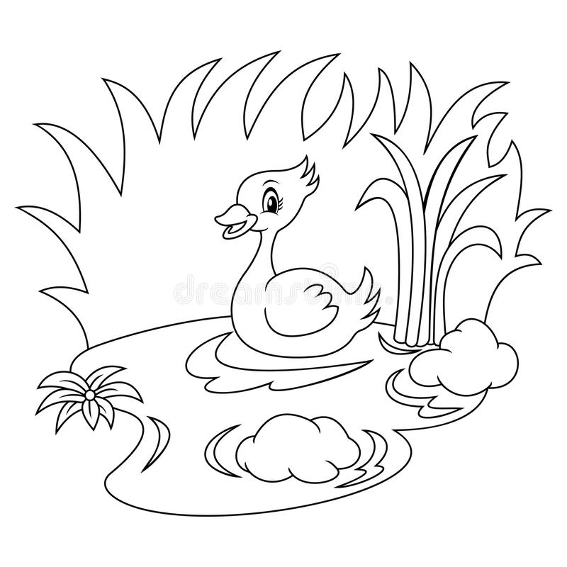 Download Duck In The River Black And White Coloring Page Stock Vector