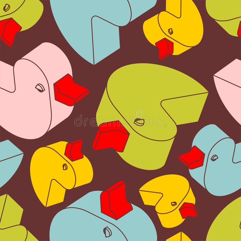 Duck rubber pattern seamless. isometric toy background. Children cloth texture.  royalty free illustration
