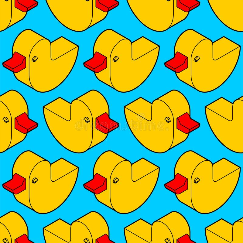 Duck rubber pattern seamless. isometric toy background. Children cloth texture.  stock illustration