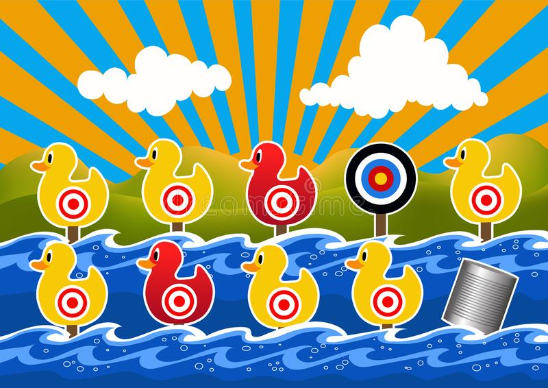 Duck Shoot Game Vector Illustration royalty free stock image
