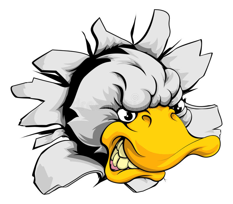 Duck sports mascot breakthrough royalty free illustration
