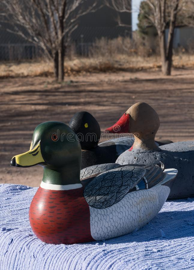 This duck is trying to be differant from the crowd. It is good to be differant and stand out from the crowd, usa, art, close-up, craft, crafted, decoration stock photo