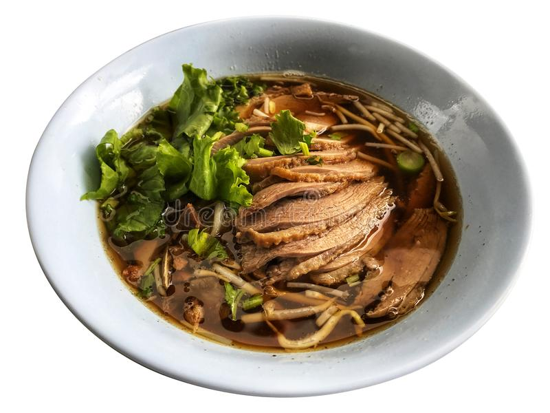 Duck and vegetable soup in white bowl ,Thai Traditional stock photo