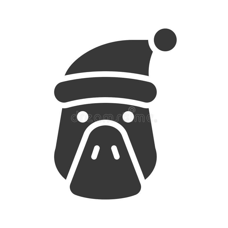 Duck wearing santa hat silhouette icon design. Duck, farm animal wearing santa hat silhouette icon design stock illustration