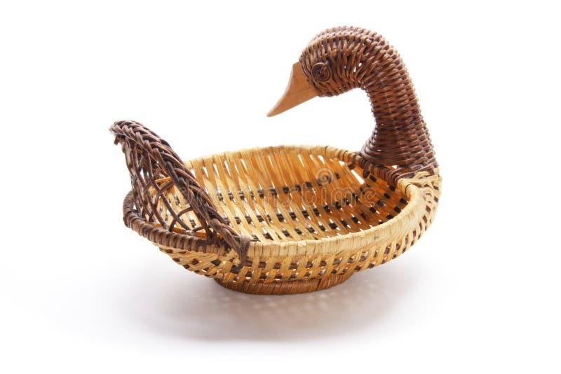 Duck Wickerwork Basket. On Isolated White Background stock photo