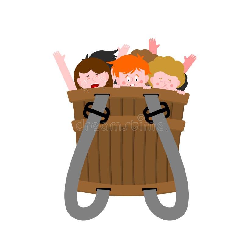 Ducka z niegrzecznymi dziećmi Zli dzieciaki w pudełku Krampus kosz ilustracja wektor