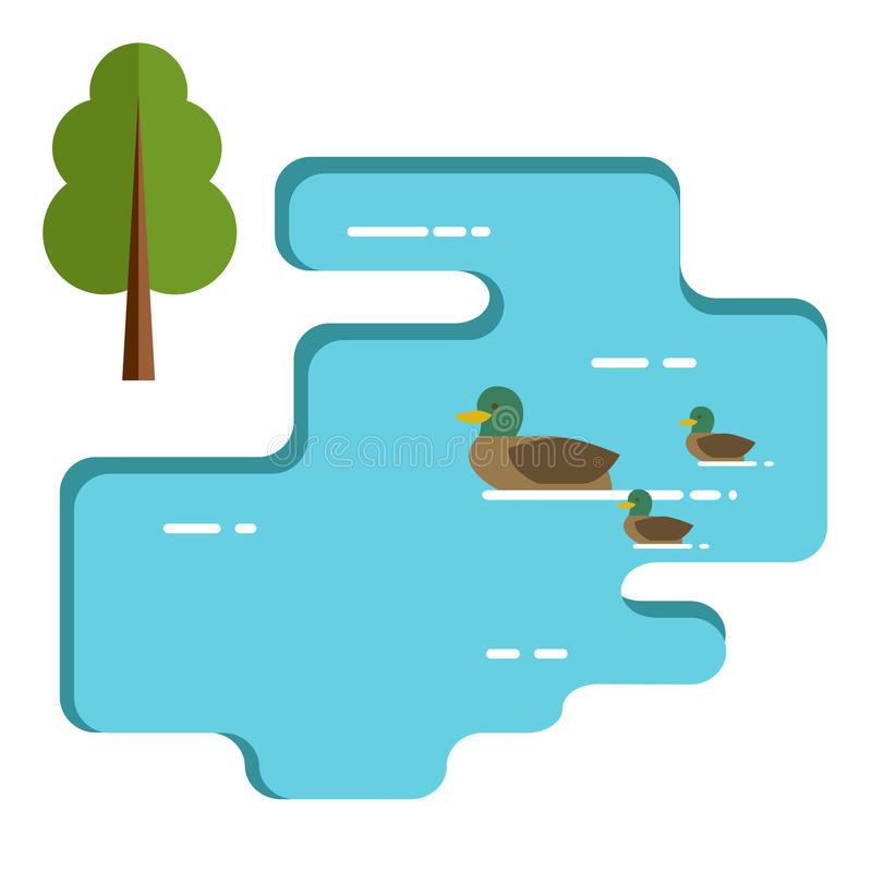 Duckar familjsimning i sjön Plan illustration stock illustrationer
