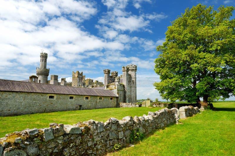 Ducketts树丛、一个被破坏的19世纪伟大的房子和前庄园塔和塔楼在爱尔兰 免版税库存图片