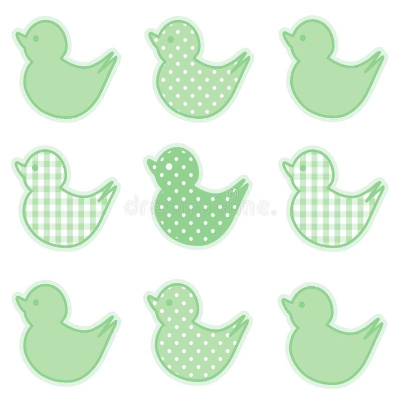 duckies зеленые немногая пастельное иллюстрация штока