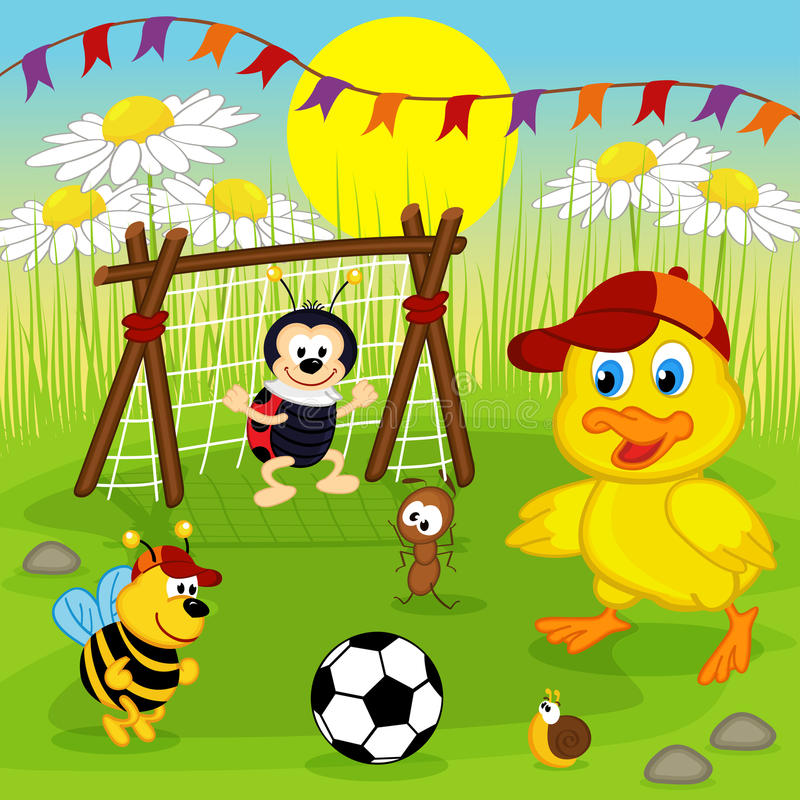 Duckling and insects play football royalty free illustration