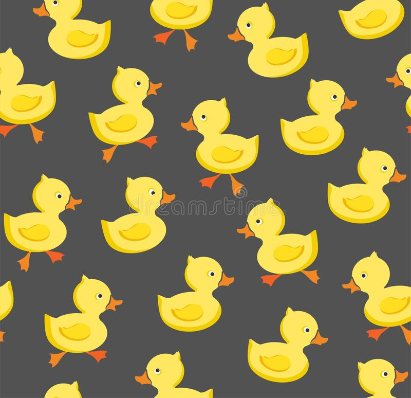 Ducklings, seamless pattern, color, gray, vector. royalty free illustration