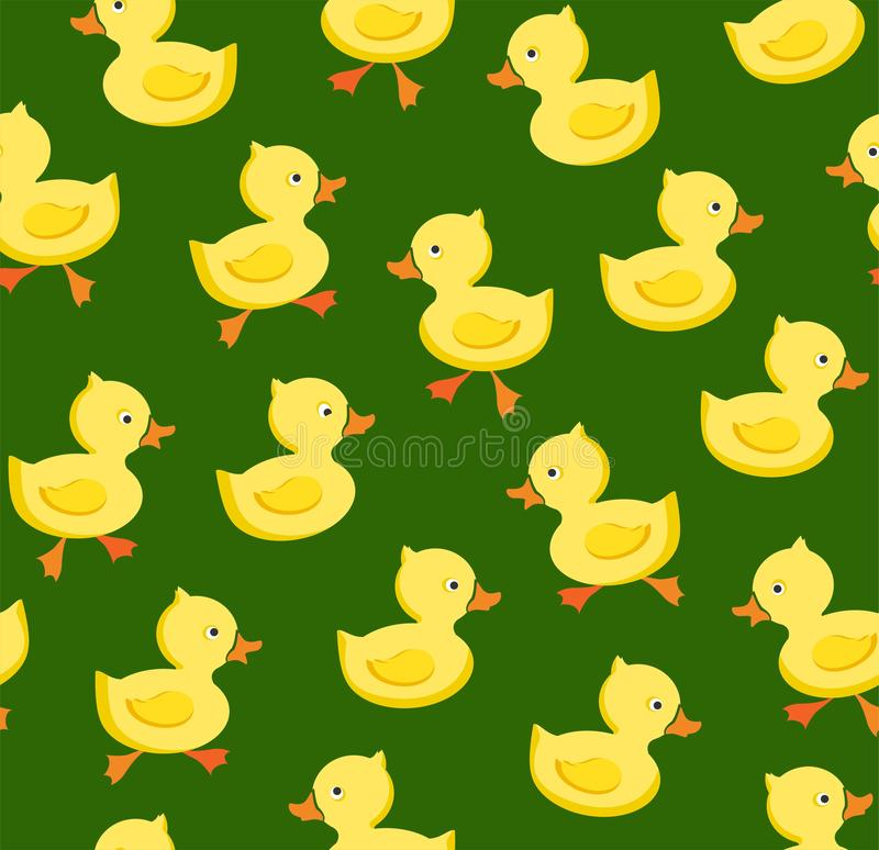 Ducklings, seamless pattern, color, green, vector. Yellow cheerful ducklings. Color, flat picture. Vector, flat seamless background stock illustration