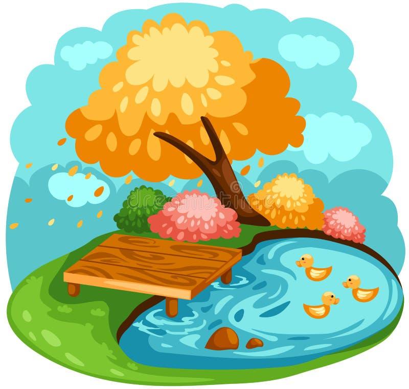 Download Ducks stock vector. Image of meadow, illustration, landscape - 17332216