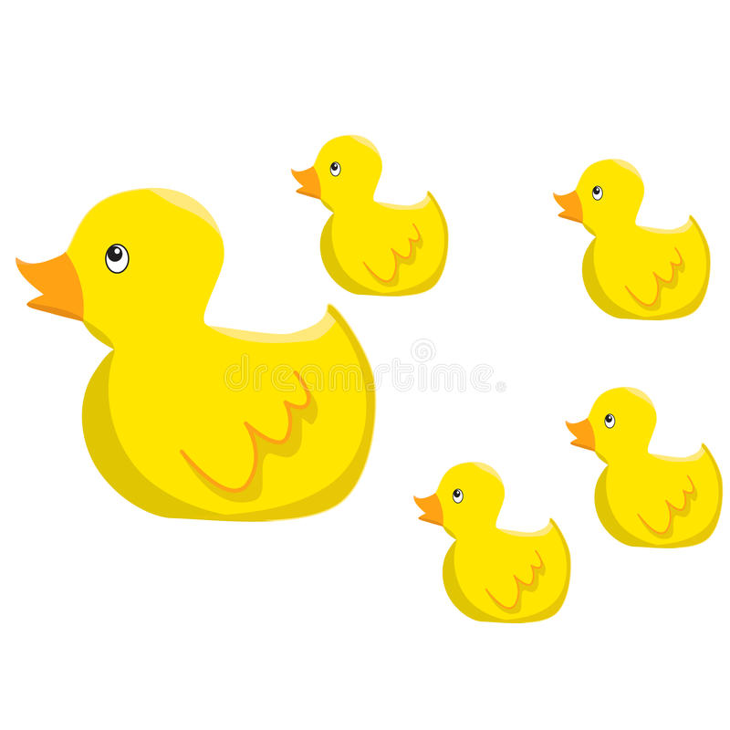 Ducks group cartoon. Yellow ducks group cartoon Small vector illustration