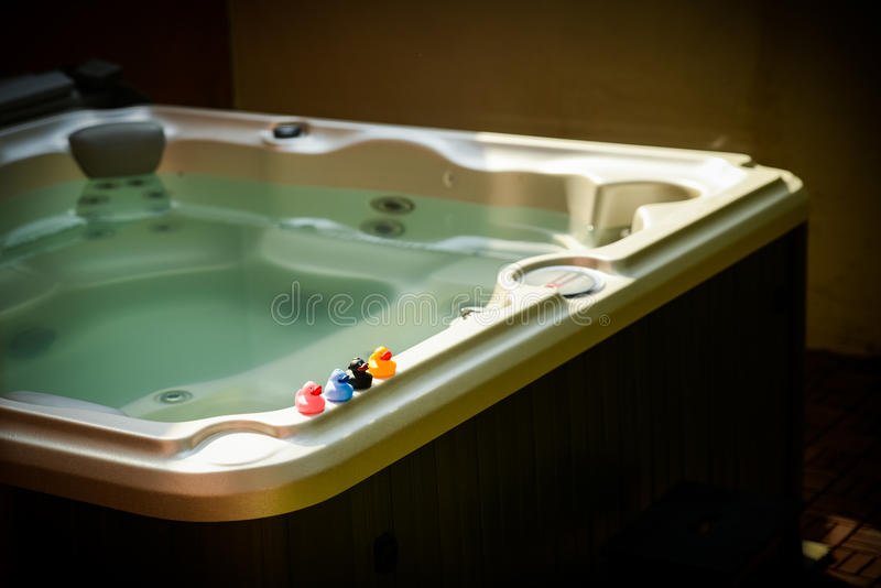 Ducks on jacuzzi stock photo