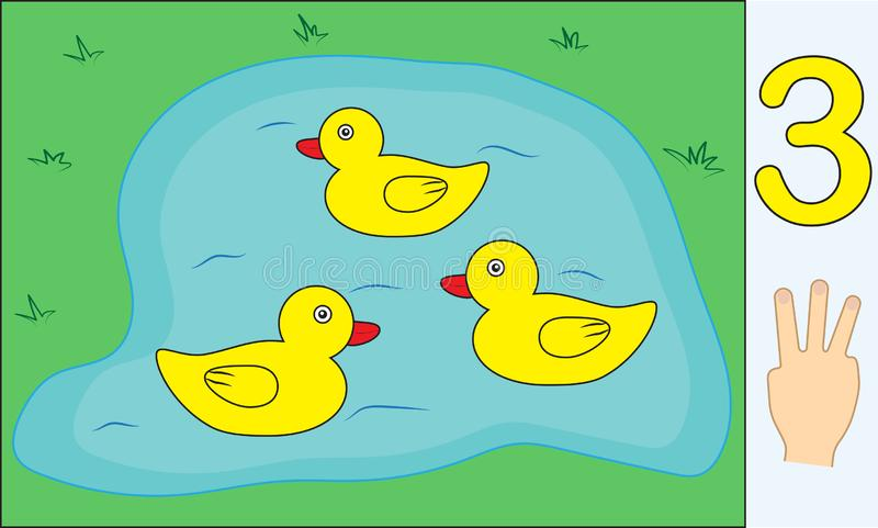 Ducks. Number 3 three. Learning counting, mathematics. vector illustration