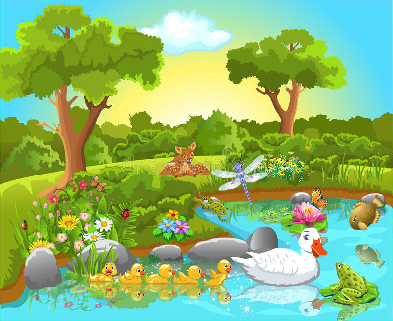 Ducks on the pond. Vector illustration of cheerful animals on a pond