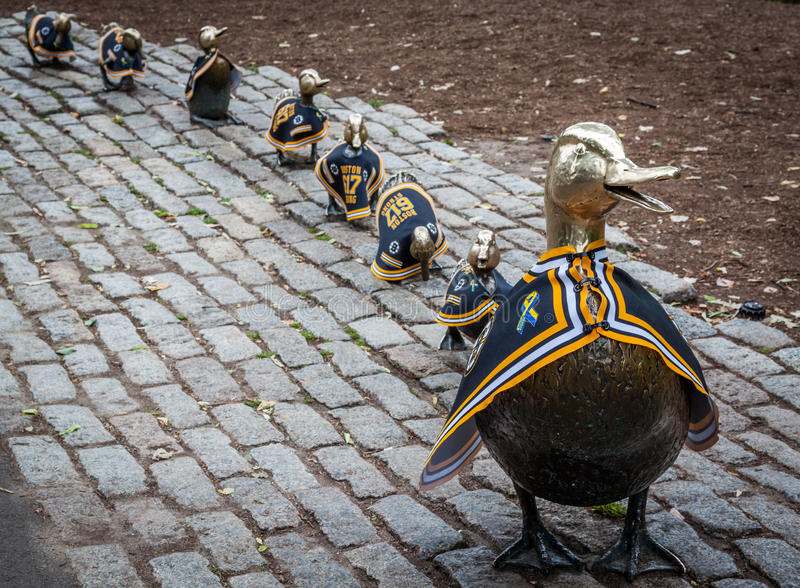 Ducks in a row statue in Boston public garden during the Bruins playoff. The ducks in a row statue in Boston public garden during the Bruins playoff. during this stock photos
