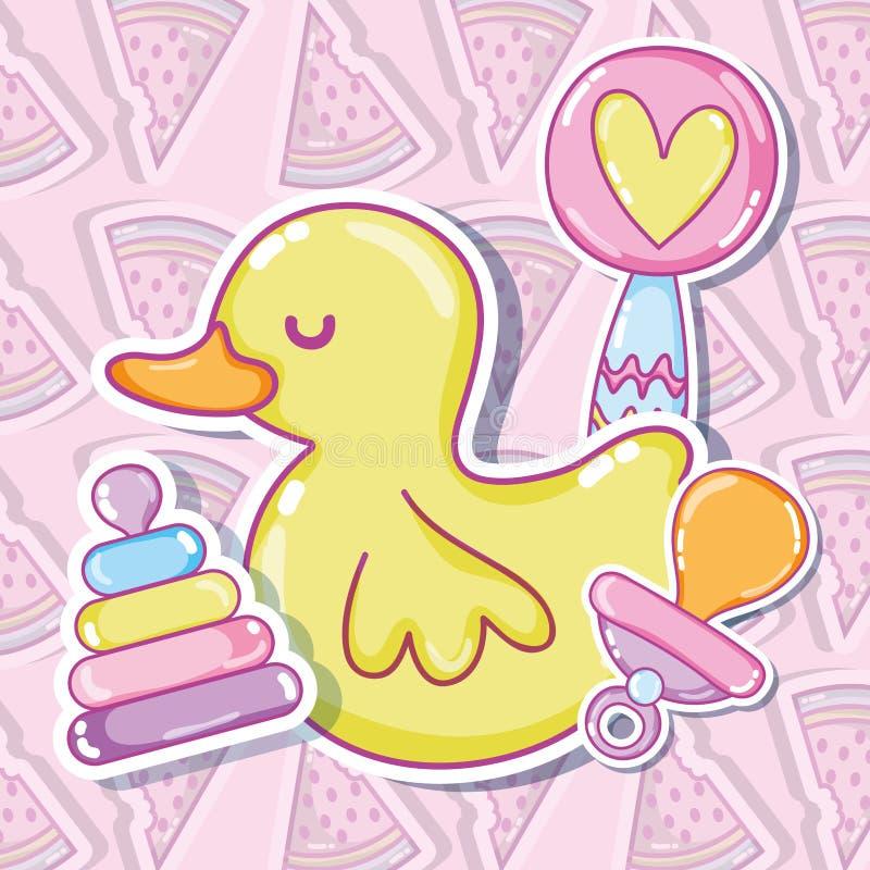Ducky bonito com brinquedos ilustração royalty free