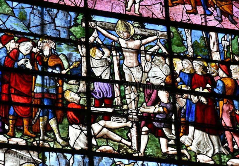Duclair, Frankrijk - 22 juni 2016 : Kerk Saint Denis stock foto's