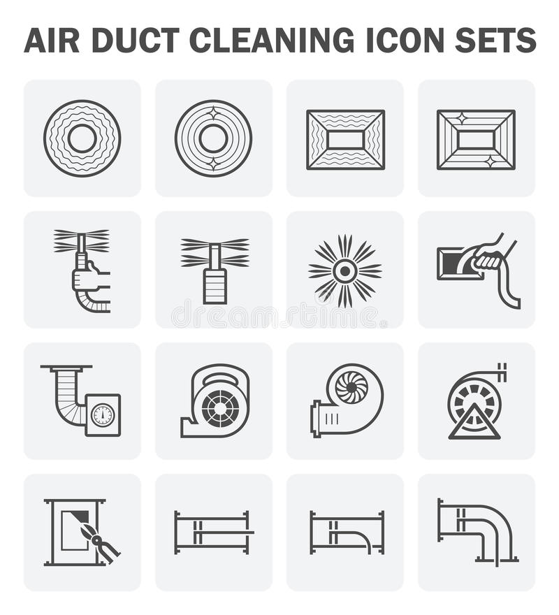 Duct clean icon. Air duct cleaning vector icon sets design vector illustration