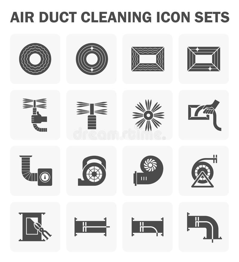 Duct clean icon. Air duct cleaning vector icon sets. easy to edit icon stock illustration