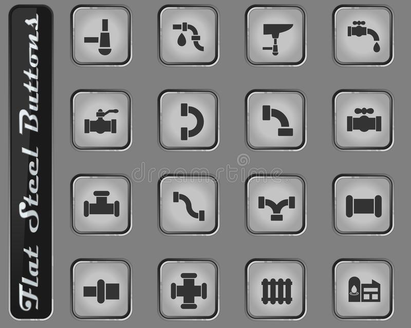 Duct icon set. Duct vector web icons on the flat steel buttons royalty free illustration