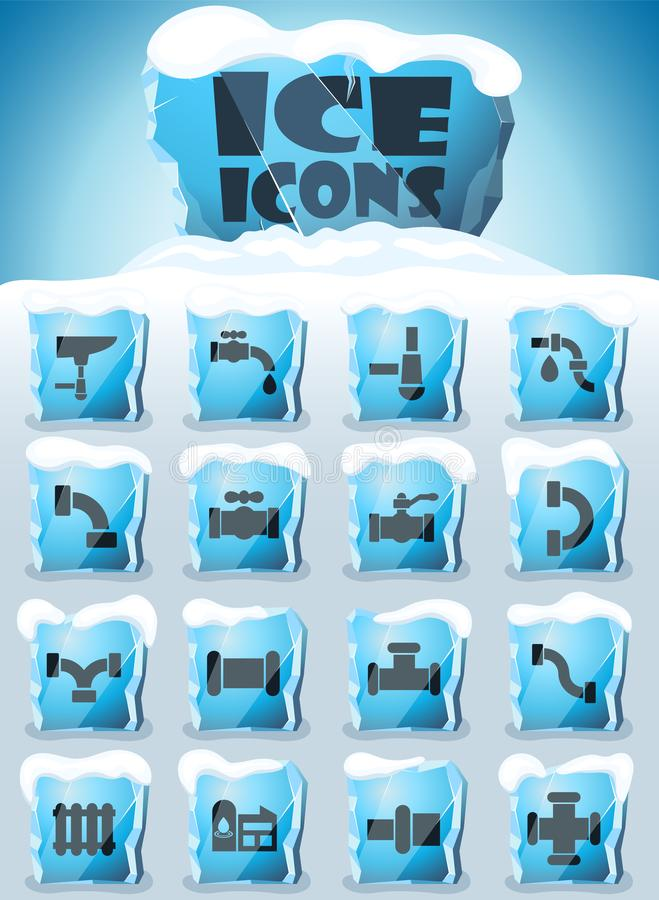 Duct icon set. Duct vector icons frozen in transparent blocks of ice vector illustration