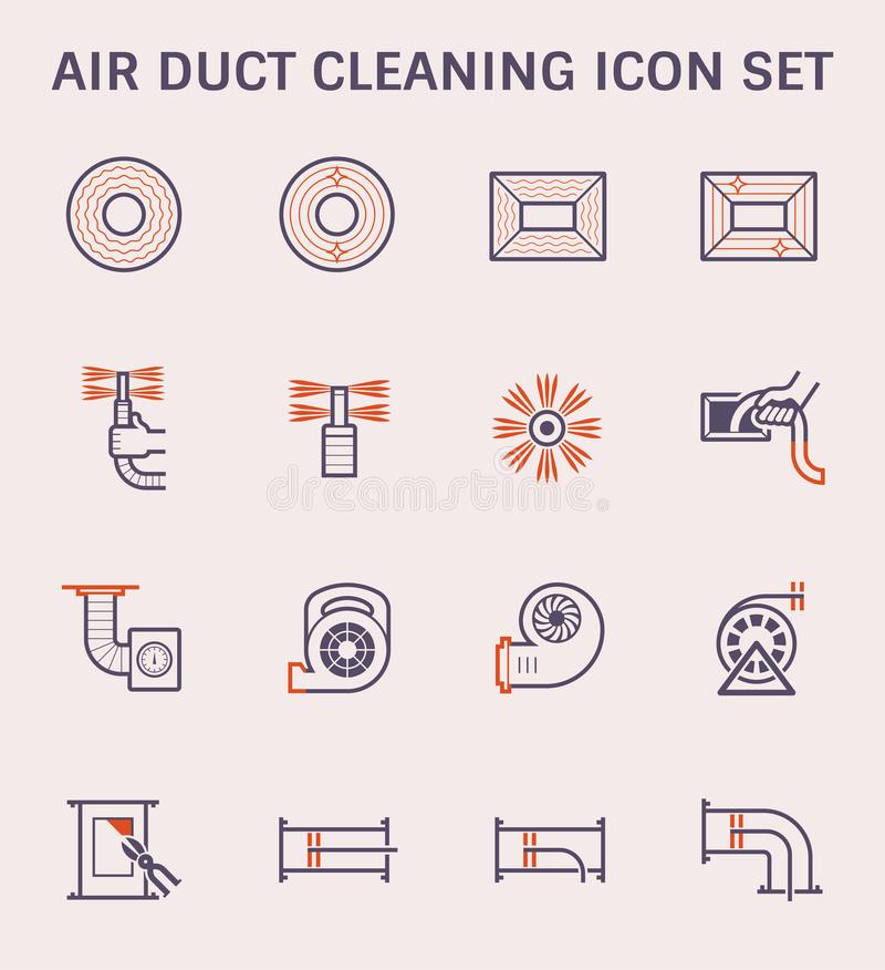 Duct pipe icon. Air duct pipe and cleaning work icon set, color and outline vector illustration