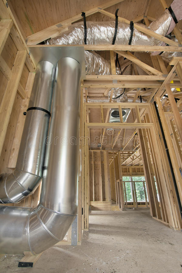 Duct Work for Home Heating Cooling System. Duct Work for Heating and Cooling System in New Construction Home stock image