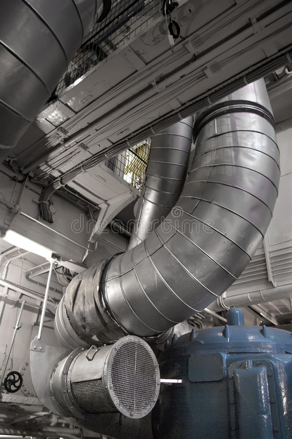 Navy Ship Engine Room: Ducts Stock Photos