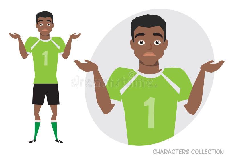 Duda afroamericana negra joven del futbolista, ningunas ideas Emoción de la incertidumbre y de la confusión en cara del jugador d ilustración del vector