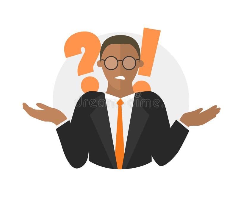 Dudas del hombre de negocios Hombre negro con un signo de interrogaci?n Ilustraci?n aislada en blanco ilustración del vector