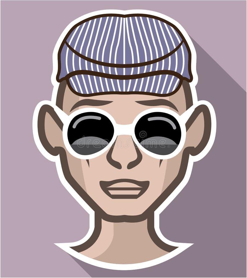 Dude Avatar exponeringsglashatt vektor illustrationer