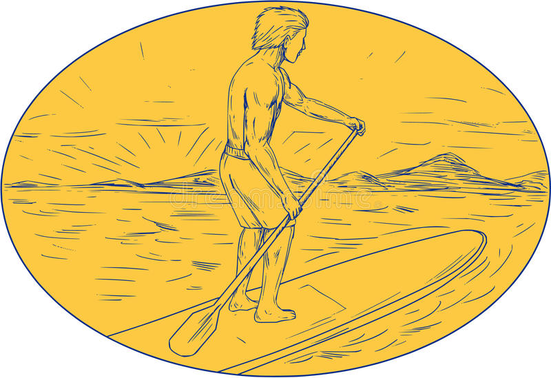 Dude Stand Up Paddle Board Oval Drawing. Drawing sketch style illustration of a dude on a stand up paddle board holding paddling oar with island and sunset in stock illustration