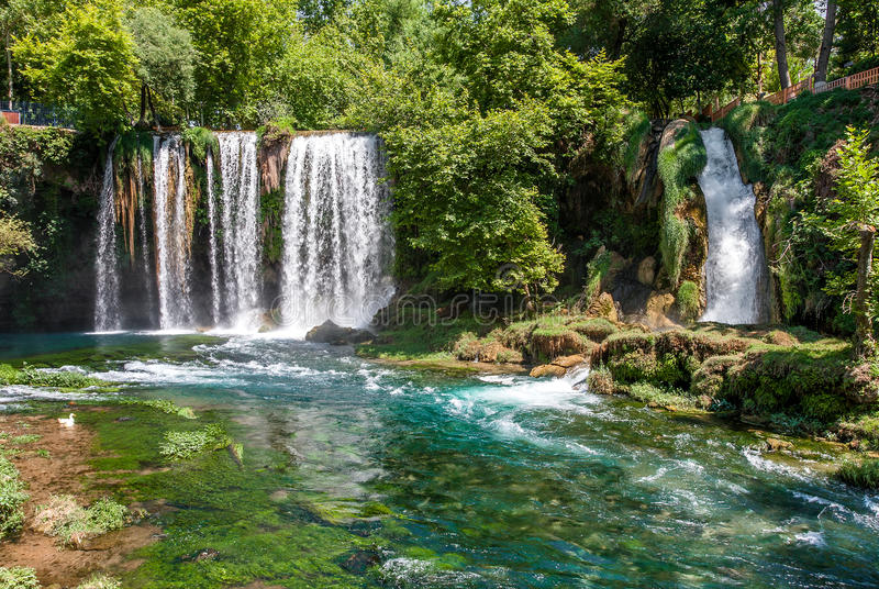 Duden waterfalls in Antalya, Turkey. Duden waterfalls and beautiful stream in Antalya, Turkey stock photography